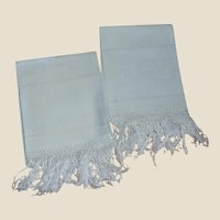 2 Fringed Daisy Spray Linen Tea or Kitchen Long Towels