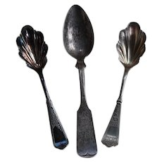 3 Decorative Silver Serving Spoons