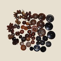 80+ Vintage and Antique Buttons Goodyear Rubber, Whistle Horn, Early Plastic
