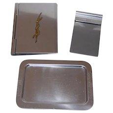 Art Deco Alcoa Kensington Waverly Memorandum Note book Holders w/ Tray