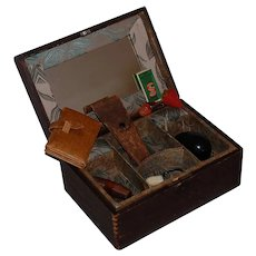 Antique Sewing Box with Sewing Tools, strawberry wax and pincushion, darning egg