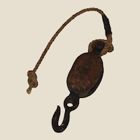 Metal and Wood Pulley with Hook and Old Sisal Hemp Rope