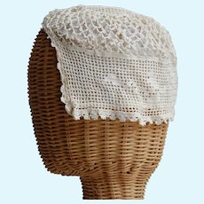 Sweet Crocheted and lined Doll or Baby Bonnet