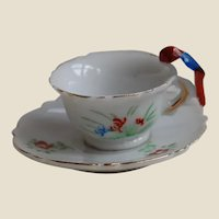 Japan Doll Tea Cup and Saucer with Bird Handle