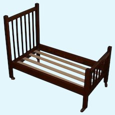 Large Arts and Crafts Style Oak Doll Bed