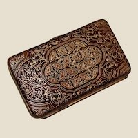 Grand Tour Antique Change Purse Embossed Leather with Tiny Silver Pencil