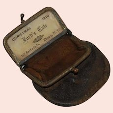Tiny Leather Change Purse Advertising Premium Token