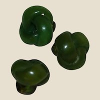 Three Vintage Green Celluloid Knot Buttons