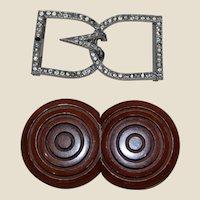 2 Vintage Belt Buckles Rhinestone French Wood signed AK