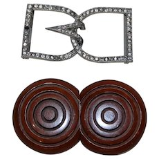 2 Vintage Belt Buckles Rhinestone French Wood signed AK