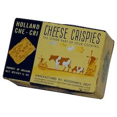 Cute Cheese Chrispies Delft Holland Cracker Advertising Tin