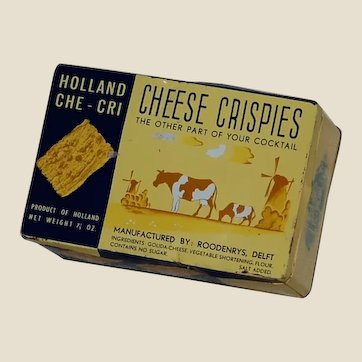 Cute Cheese Chrispies Delft Holland Cracker Advertising Tin