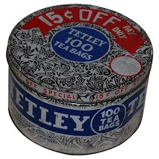 Tetley Tea Tin with Store Promo Lid