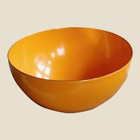 Small Mid-Century Bright Orange Enameled Metal Bowl