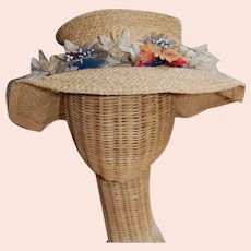 Vintage Straw Hat with Ribbon and Floral Band