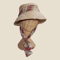 Vintage Woven Palm Mid-Century Hat