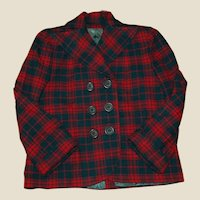 Pendleton Style Wool Plaid Double-Breasted Jacket with lining