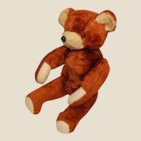 Vintage Jointed Orange Mohair Teddy Bear