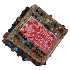 WWI Era Pin Cushion Box Stay In Pin Cubes