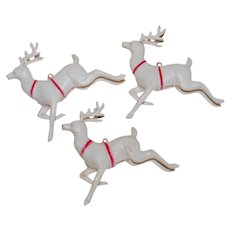 3 Mid Century Plastic Reindeer with Red Harness