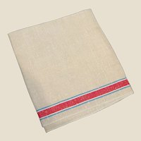 Red and Blue Striped Linen Towel