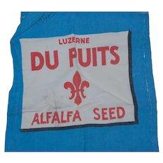 Vintage Du Puits Alfalfa Seed Bag Bright Blue