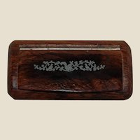 Rosewood French Snuff Box Inlaid Squirrel and Birds