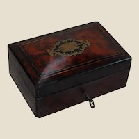 Antique Burl Wood and Inlaid Box with Key and Lock
