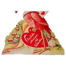 1920's Red Cuckoo Bird Mechanical Valentine