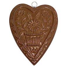 Vintage Copper Heart Chocolate Mold or Shortbread Pan
