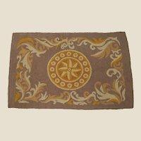 Vintage Golden Compass Woven Rag Rug 2x3
