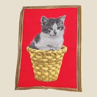 Vony France Cat in a Basket Kitchen Towel