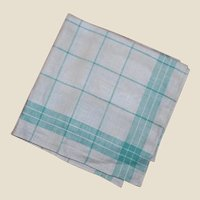 Teal and White Striped Linen Kitchen or Tea Towel