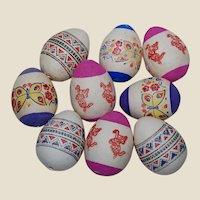 Vintage Hard Paper Printed Easter Eggs