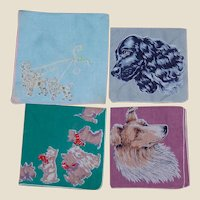 Four Dog Themed Cotton Handkerchiefs