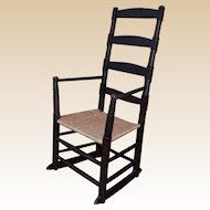 1800's Primitive Folk Art Ladder Back Rocking Chair with splint seat
