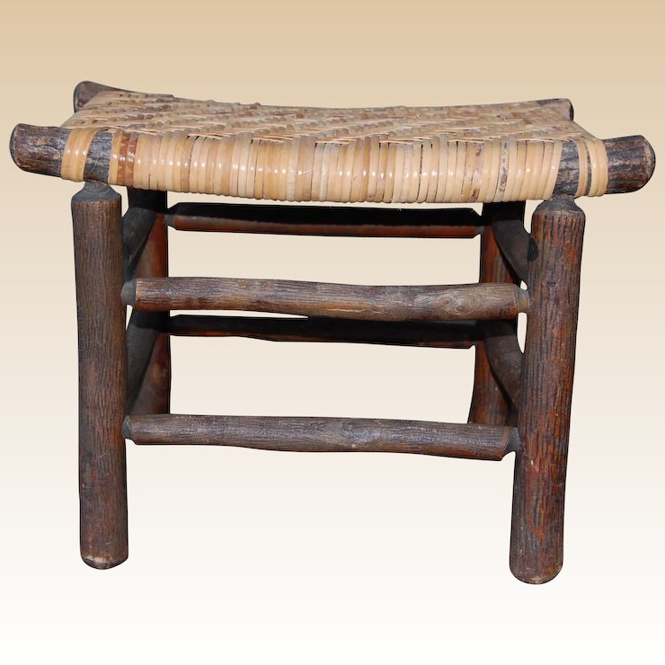 Vintage Old Hickory Foot Stool with Splint Seat - Vintage Old Hickory Foot Stool With Splint Seat : Starr Hill