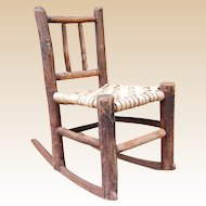 Rustic Old Hickory Style Child's Rocking Chair
