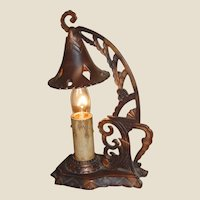 Tudor Style Cast Metal Bedside Candle Lamp with Hanging Snuffer