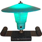 Mid Century Mod Table Lamp Turquoise and Gold Fiberglass Shade