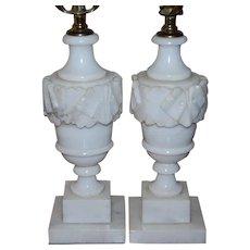Pair Vintage Carved Alabaster Marble Table Lamps