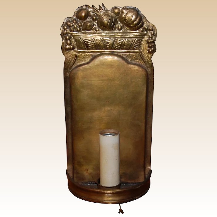 Tooled Brass Wall Sconce With Electric Candle Starr Hill Antiques