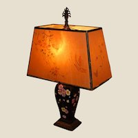 Oriental Style Table lamp with Painted Shade, Cast Iron Harp and Finial