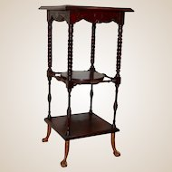 Late 1800's Three Tiered Side Table Etagere with Claw feet