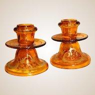 Fabulous Bohemian Candlesticks Amber Cut  to Clear