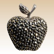 Sterling and Marcasite Apple Brooch or Pin