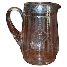 Edwardian Era Etched Glass Pitcher with Silver Banding