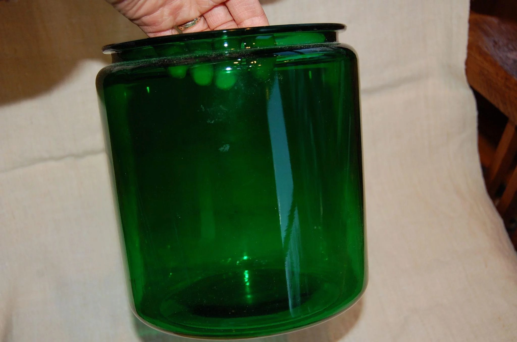 Large Green Glass Jar With Turned Wooden Lid Starr Hill