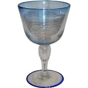 Very Large Blown Glass Goblet with George V 1927 Coin