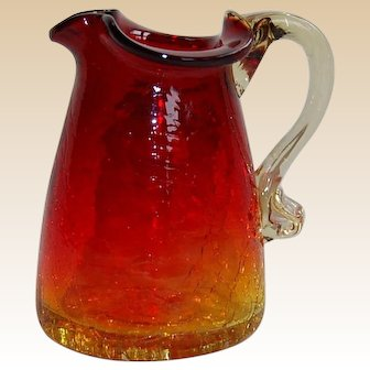 Vintage Amberina Crackle Glass Creamer Pitcher